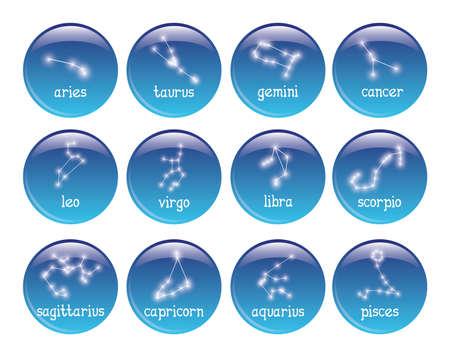 sagitario: conjunto de 16 placas con los símbolos del zodiaco