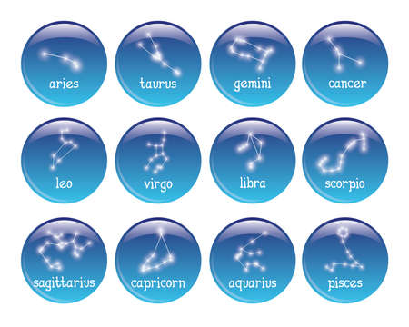 sagittarius: set of 16 badges with zodiac symbols