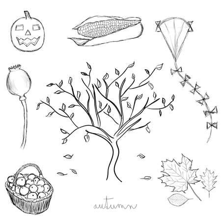 doodle autumn set Vector