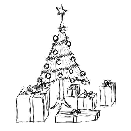 doodle christmas tree and gifts Stock Vector - 10424597