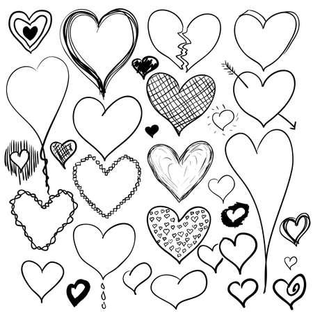 dessin coeur: ensemble de coeurs doodle