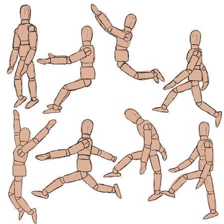 wooden leg: sketch dummy