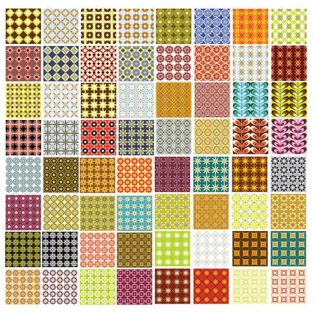 64 seamless retro patterns Vector