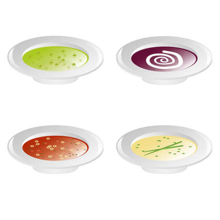 pulses: pea soup, beet soup, tomato soup and cream soup