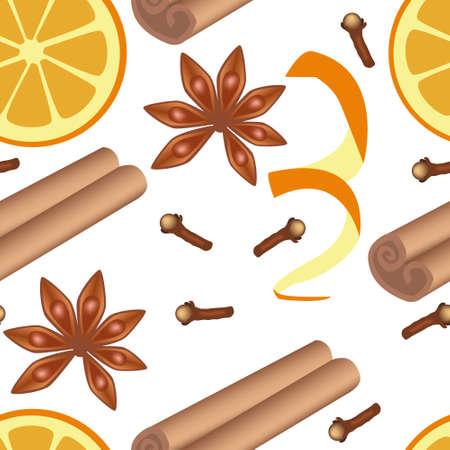 clove of clove: spice seamless pattern Illustration
