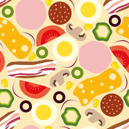 bacon: pizza seamless pattern