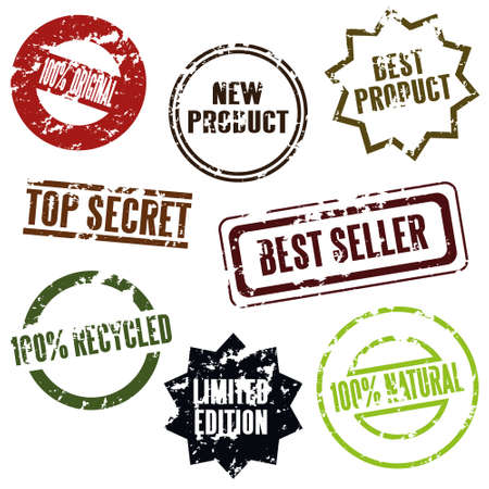 best products: 100% original, new product, top secret etc. Illustration