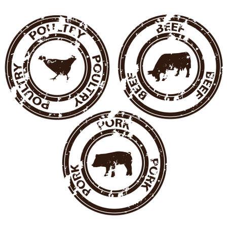 beef: sellos de la carne Vectores