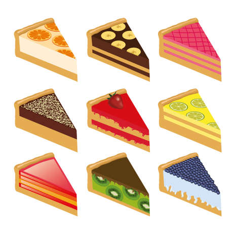 collection of nine sweet cakes Vector