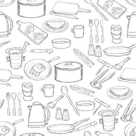 kitchen equipment pattern Vector