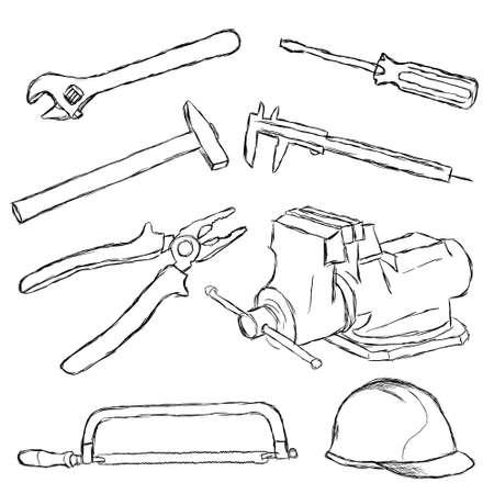 caliper: tools set Illustration
