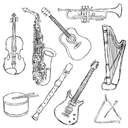 fiddles: musical instruments Illustration