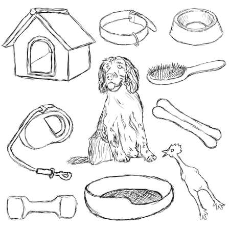 kennel: collection of dog supplies Illustration