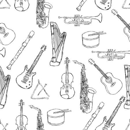fiddle: musical instruments pattern Illustration
