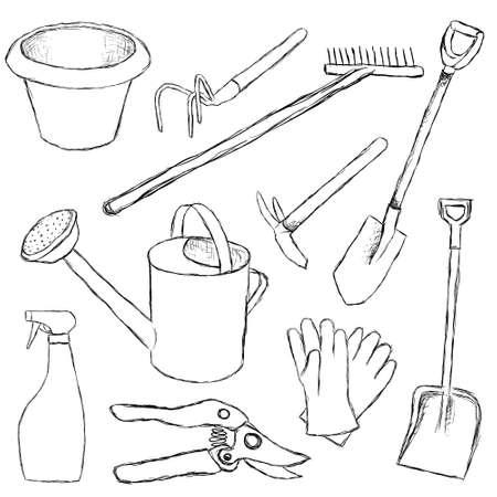 regando el jardin: herramientas de jard�n Vectores