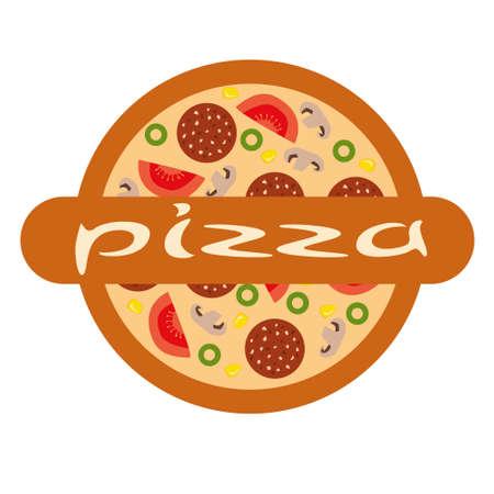pizzeria label: pizza de logotipo