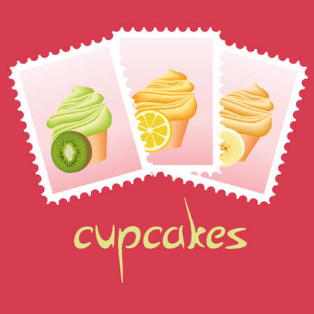 cupcake stamps Stock Vector - 11273018
