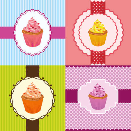 cupcake invitation cards Vector