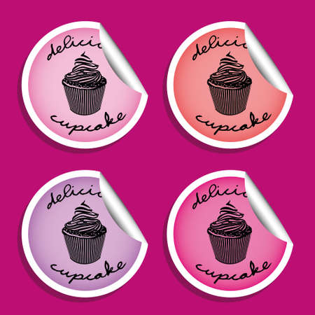 bake sale: cupcake stickers