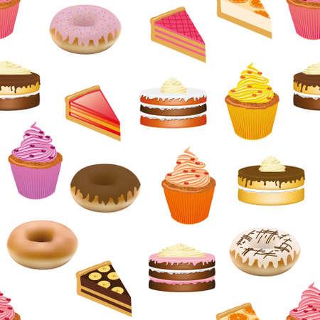 gateau: cakes seamless pattern
