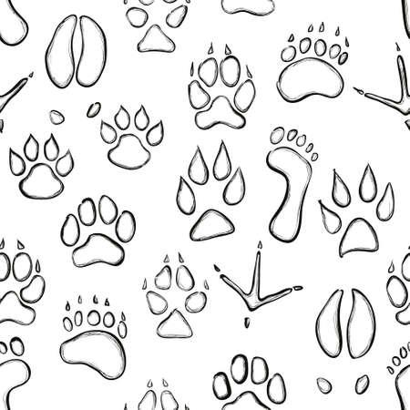 lion dog: animal paw seamless pattern
