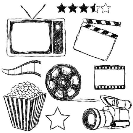 movie doodle collection Vector