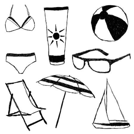 summer doodle collection Vector