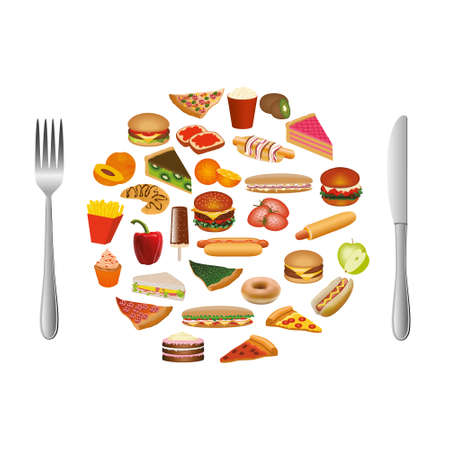 food collection with cutlery Vector
