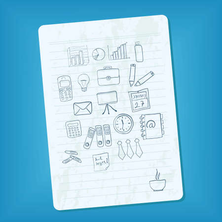 notebook page with doodle business pictures Vector