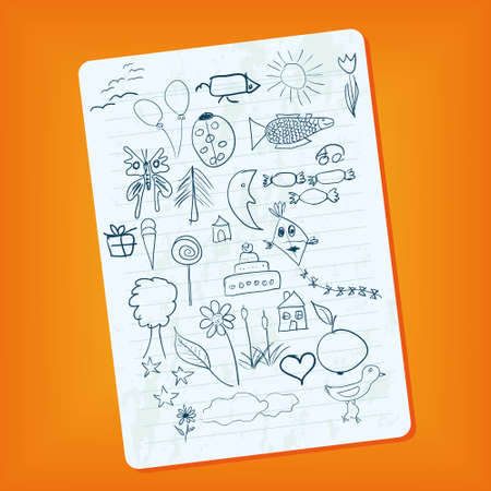 notebook page with doodle pictures Vector