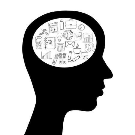 head with business idea Vector
