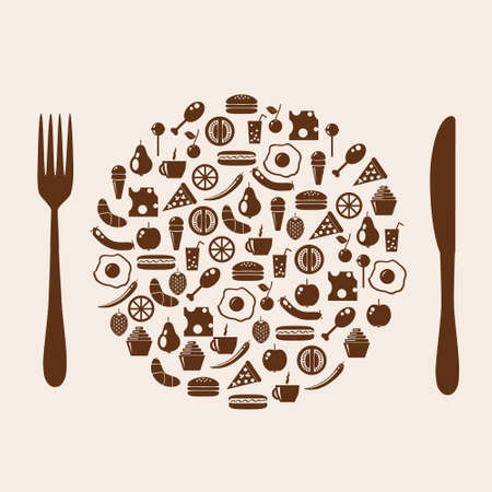 icon plate with cutlery Vector