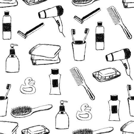 doodle bathroom seamless pattern Stock Vector - 11538560