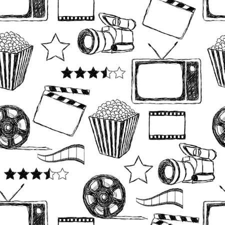 кинематография: каракули фильм бесшовные модели Иллюстрация