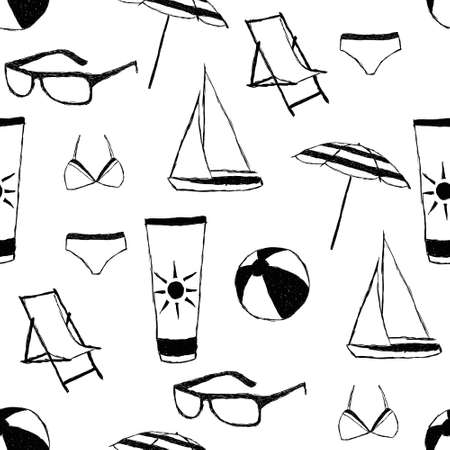 doodle summer seamless pattern Vector