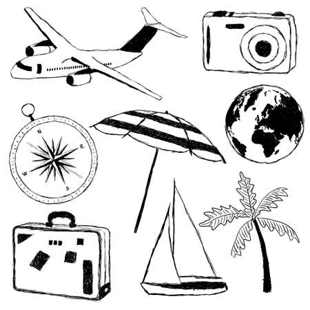 vac: doodle travel pictures Illustration