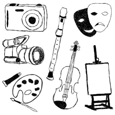 drama mask: doodle collection of art pictures