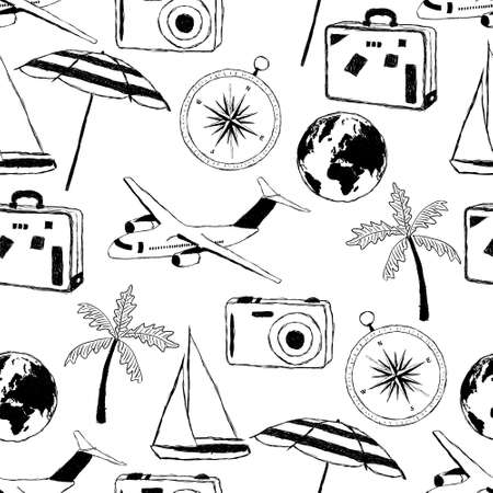 doodle travel pattern Vector