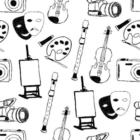 performance art: doodle art seamless pattern