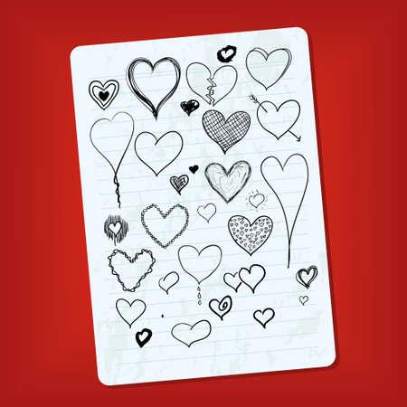 doodle hearts Stock Vector - 11814483