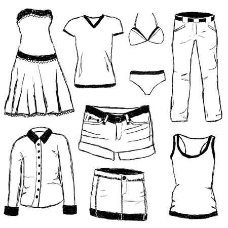 t shirt blouse: doodle clothes Illustration