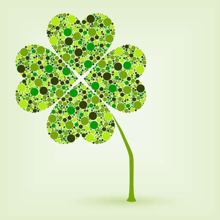 irish culture: dots four leaf clover Illustration