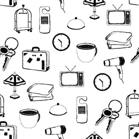 doodle hotel pictures pattern Vector