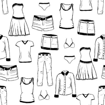doodle clothes pattern Vector