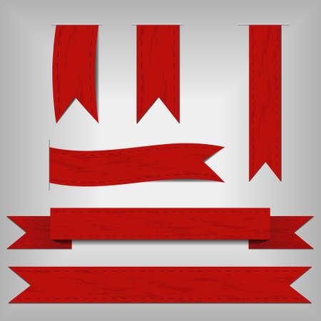 set of red ribbons 矢量图像