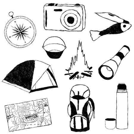 doodle camp pictures Stock Vector - 12022520