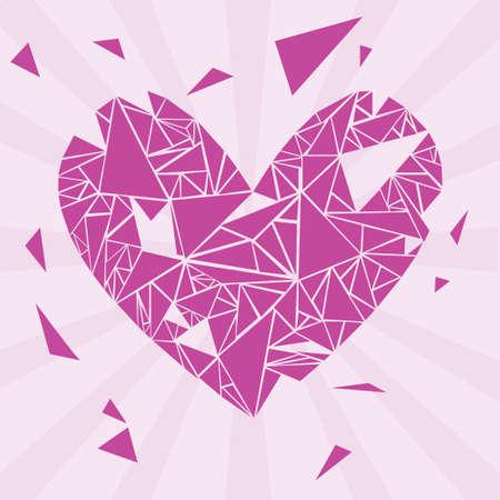 broke: violet broken valentine heart