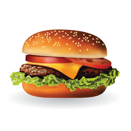 hamburger with meat, lettuce, cheese and tomato Vector