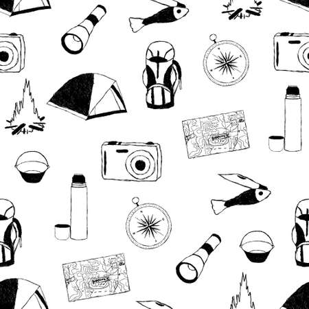 doodle camp seamless pattern
