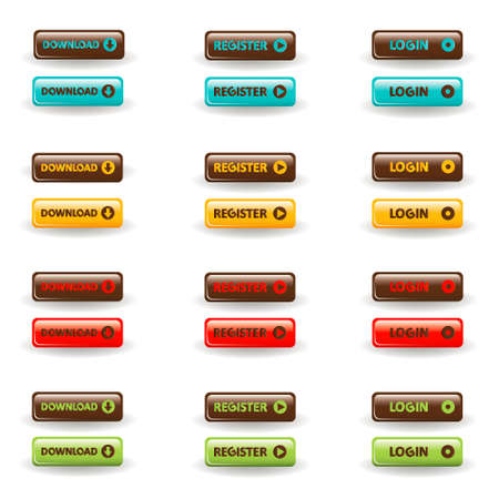 log in: download, register and login buttons Illustration